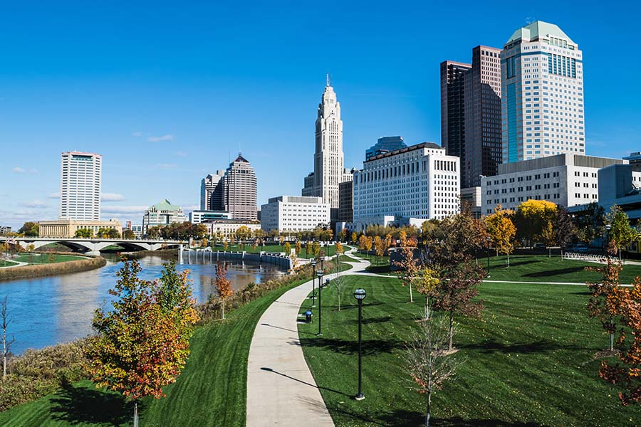 Ohio - View Of Downtown Columbus Ohio City Skyline